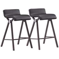 Zuo Xert Set of 2 Black Counter Stools