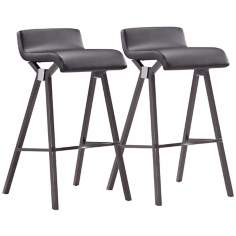 Zuo Xert Set of 2 Black Bar Stools