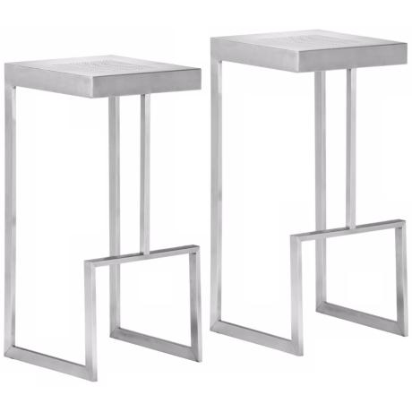 Zuo Deal Stainless Steel Modern Bar Stool Set of 2