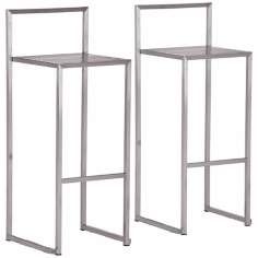Zuo Dalton Stainless Steel Bar Stool Set of 2