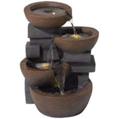 Faux Stone 4-Bowl Indoor/Outdoor Fountain