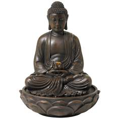 Meditating Bronze Seated Buddha Fountain
