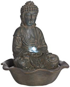 "Indoor-Outdoor 12"" High LED Seated Buddha Water Fountain (V8013) V8013"
