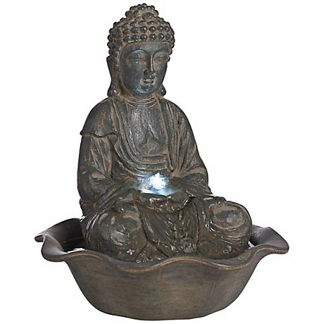 Indoor-Outdoor LED Seated Buddha Water Fountain