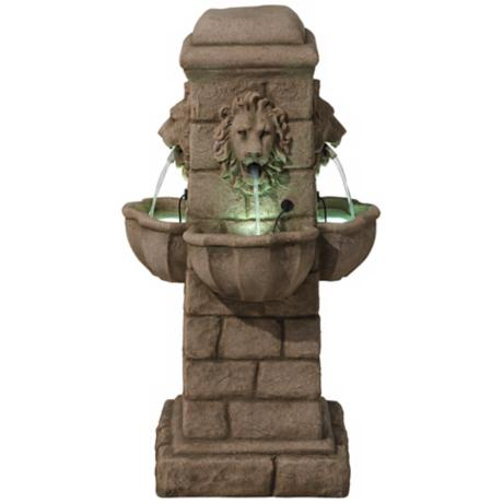 Regal Lion 4 Basin LED Light Fountain