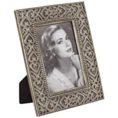 Hearts Antique Nickel 4x6 Photo Frame