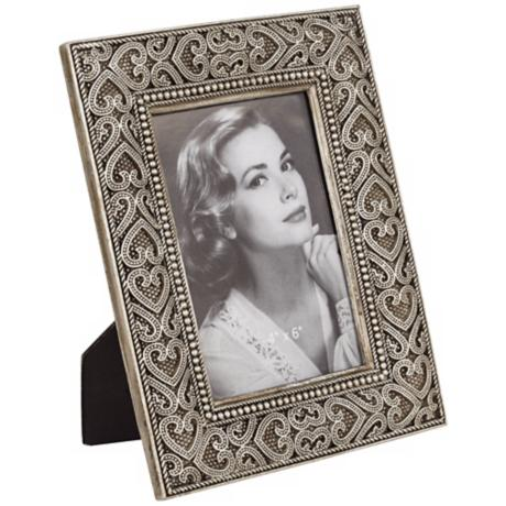 Hearts Antique Nickel Finish 4x6 Picture Frame