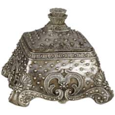 Hearts Antique Silver Beaded Jewelry Box