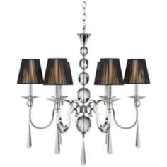 "Chrome with Black String Shades 28 1/2"" Wide Chandelier"