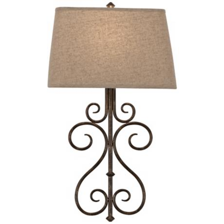 "Metal Scroll 25"" High Bronze Finish Plug-In Wall Sconce"