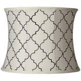 Cream and Black Moroccan Tile Drum Shade 13x14x11 (Spider)