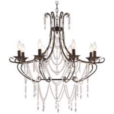 "Bronze and Draped Crystal 28"" Wide Chandelier"