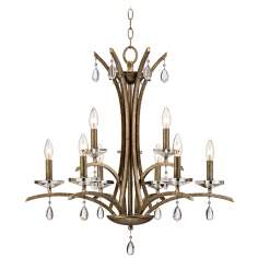 "Transitional Curves Silver Gold 28"" Wide Crystal Chandelier"