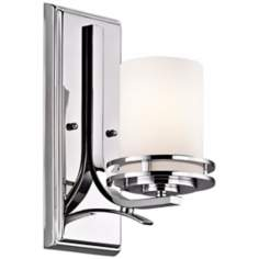 "Kichler Hendrik 12"" High Satin Opal Glass Wall Sconce"