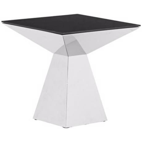Zuo Tyrell Stainless Steel and Black Glass Coffee Table