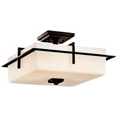 "Kichler Caterham 15"" Wide Glass Flushmount Ceiling Light"