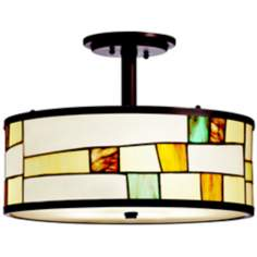"Kichler Mihaela 15"" Wide Art Glass Semi Flush Ceiling Light"