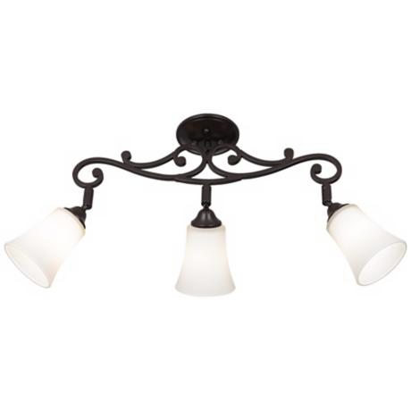 White Painted Glass 3-Light Scroll Track Fixture