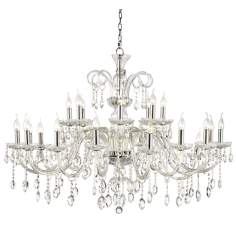 "Chrome Accent 49"" Wide 24-Light Crystal Chandelier"
