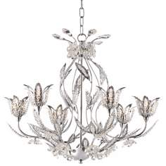 "Elegant Chrome and Crystal 22"" Wide Floral Chandelier"