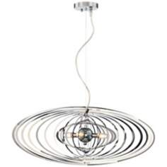 "Lasercut 27"" Wide Four-Light Chrome Pendant Chandelier"