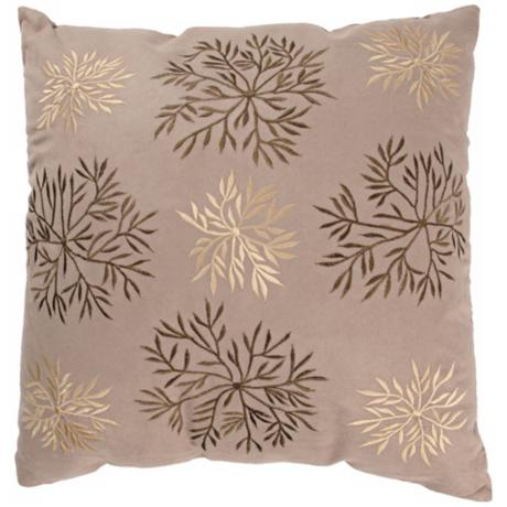"Leaves And Vines 18"" Square Suede Throw Pillow"