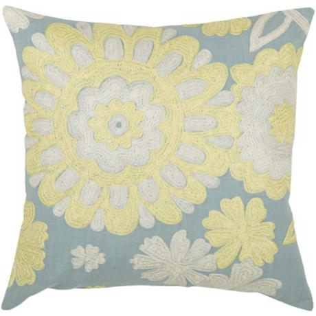"Light Blue and Yellow 18"" Square Floral Decorative Pillow"