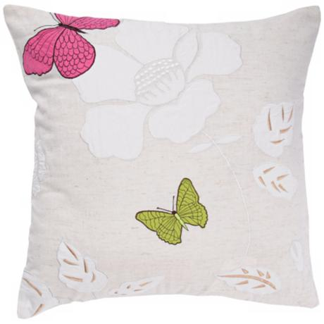 "Flower And Butterfly 18"" Square Accent Pillow"