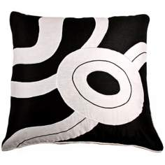 "Black And White Circular 18"" Square Modern Accent Pillow"