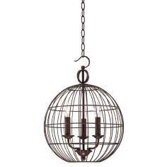 "Industrial Candelabra 3-Light 15"" Wide Cage Pendant Light"