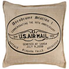 "U.S. Air Mail 18"" Square Jute And Cotton Throw Pillow"