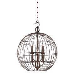 "Industrial Candelabra 6-Light 20"" Wide Cage Pendant Light"