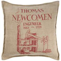 "Thomas Newcomen 18"" Square Beige Throw Pillow"