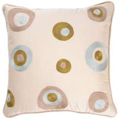 "Cream With Multicolored Circles 18"" Square Accent Pillow"
