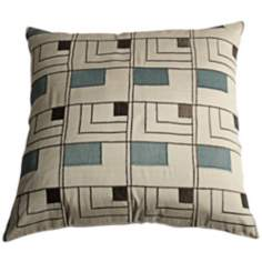 "Geometric 18"" Square Decorative Pillow With Hidden Zipper"