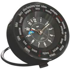 Black Globe Trotters Self-Set World Time Alarm Clock