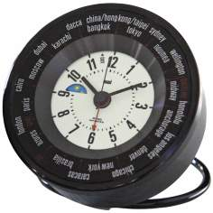 Black White Globe Trotters Self-Set World Time Alarm Clock
