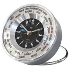 Silver Globe Trotters Self-Set World Time Alarm Clock