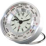 Silver White Globe Trotters Self-Set World Time Alarm Clock