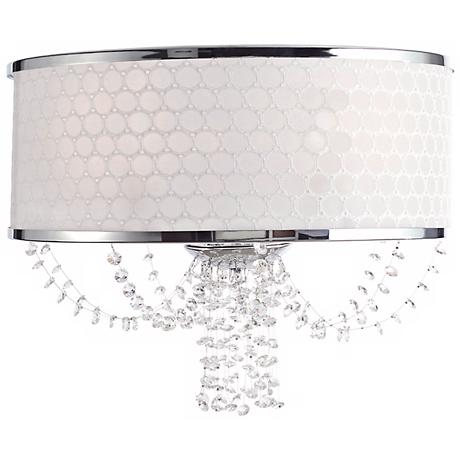 "Crystorama Allure Silk Shade 14"" Crystal Wall Sconce"