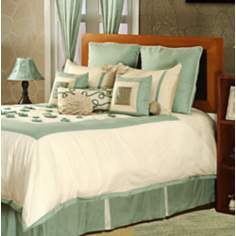 Cream And Mineral Blue Rose 10-Piece Queen Bedding Set