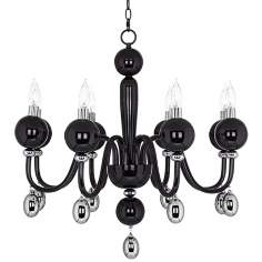 "Possini Euro 28"" Wide Black with Chrome Glass Chandelier"