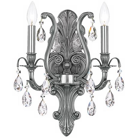 "Crystorama Dawson 2-Light 13"" Wide Pewter Wall Sconce"