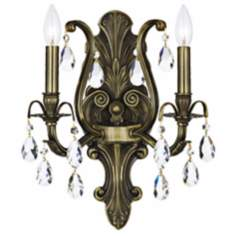 "Crystorama Dawson 2-Light 13"" Wide Crystal Wall Sconce"