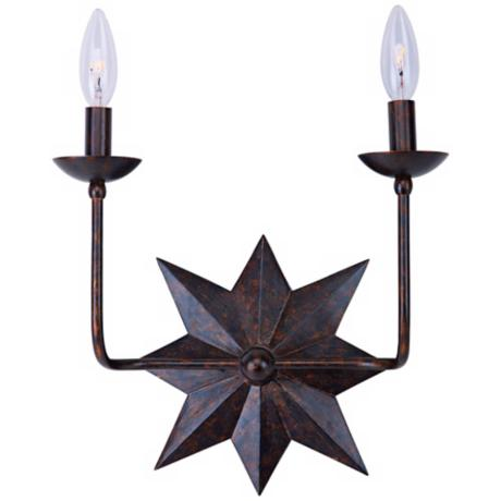 "Crystorama Astro 2-Light 16"" High Bronze Wall Sconce"