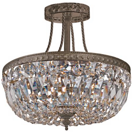 "Crystorama Traditional 12"" High Bronze Crystal Ceiling Light"