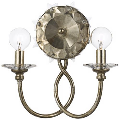 "Crystorama Willow  2-Light 11 1/2"" High Silver Wall Sconce"