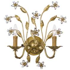 "Crystorama Venice 2-Light 16"" High Gold Leaf Wall Sconce"