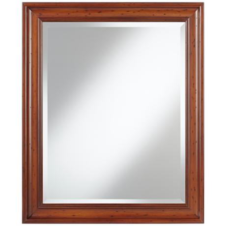 "Pecan Tradition 33""High Wood Framed Wall Mirror"