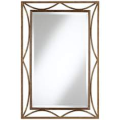 "Openwork Crescent 36"" High Bronze Metal Wall Mirror"